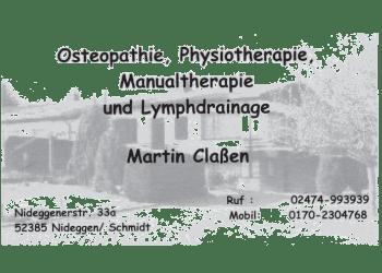 Classen Martin, Physiotherapie, Osteapathie